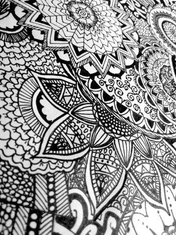 Love Drawing Black & White Mandala