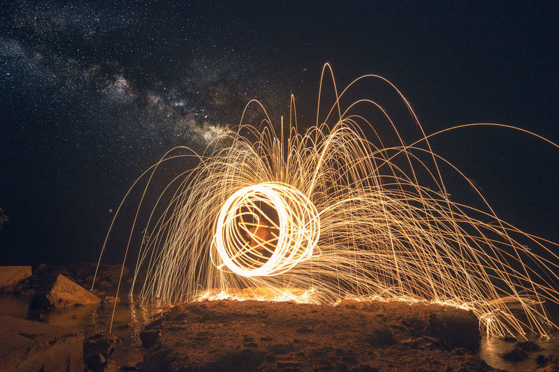 Light painting of firework display
