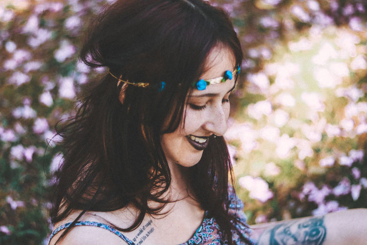 Close-up of beautiful young woman wearing tiara