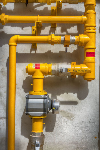 Close-up Day Gas Pipes No People Outdoors Pipe - Tube Technology Yellow