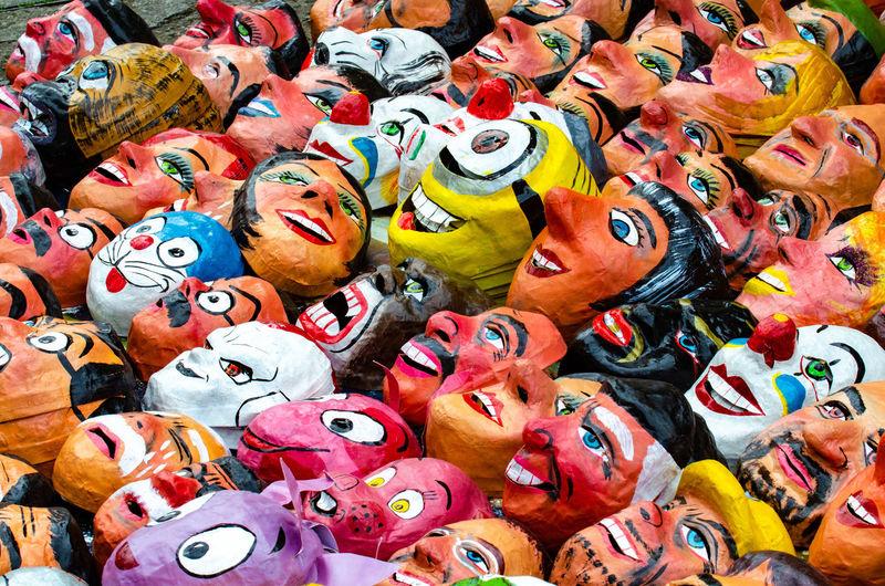 Full frame shot of masks at market