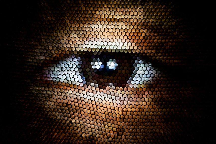 Close-up Pixelated Human Eye Illuminated Textured  Straws Strawcamera Pattern Circles Eye Abstract Multi Colored Brown Brown Eyes