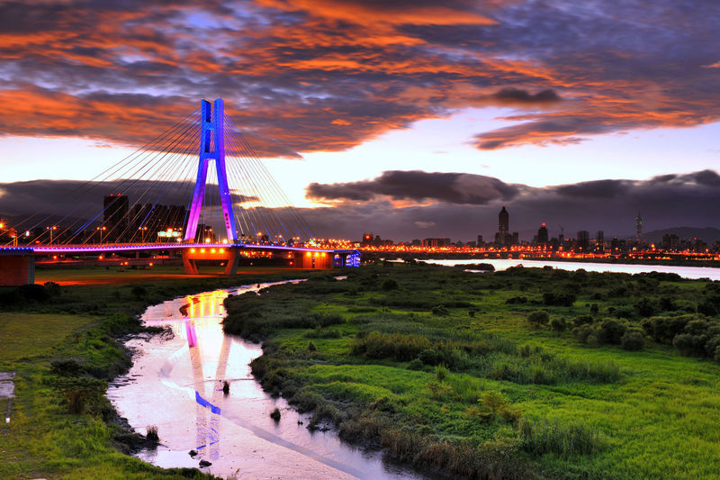 New Taipei, Taiwan The new Taipei Bridge is a very beautiful traffic bridge across the Han River, connecting many people and people City Taiwan Architecture Bridge - Man Made Structure Building Exterior Built Structure City Cityscape Cloud - Sky Day Grass Landscape Nature New Taipei City No People Outdoors River Sky Transportation Travel Destinations Water