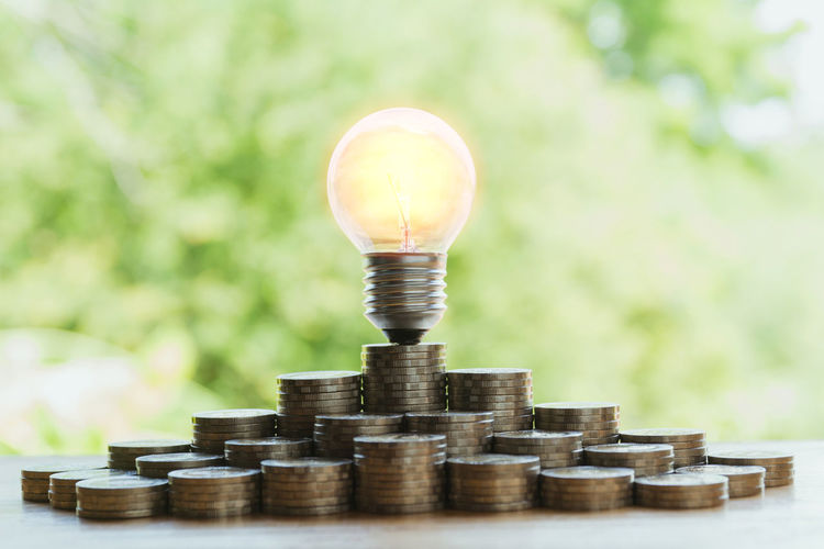 Business Close-up Coin Currency Economy Finance Focus On Foreground Fuel And Power Generation Growth Investment Large Group Of Objects Light Bulb Lighting Equipment Nature No People Plant Savings Selective Focus Stack Tree Wealth