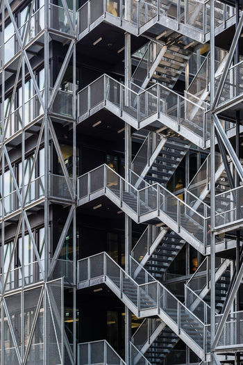 Steel structure architecture construction abstract background, staircase and exterior wall
