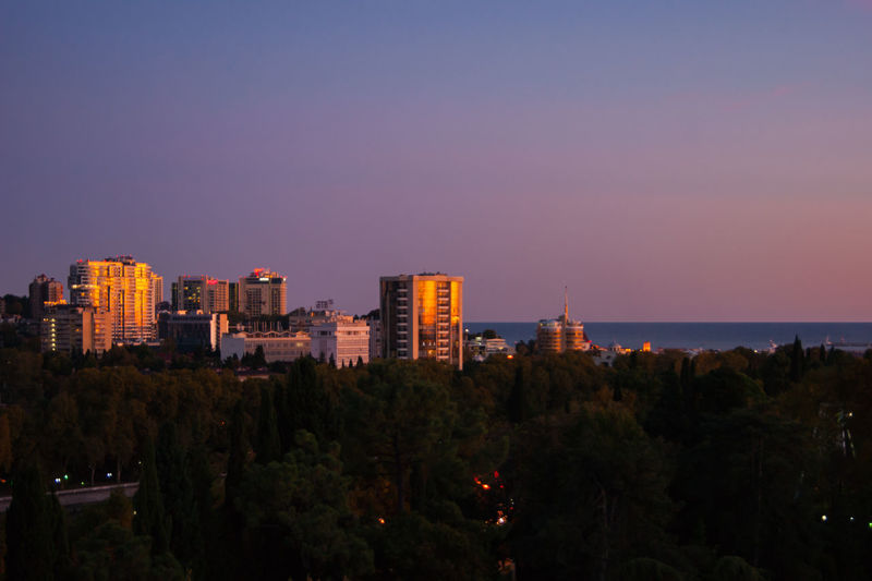 Trees and buildings against sky during sunset