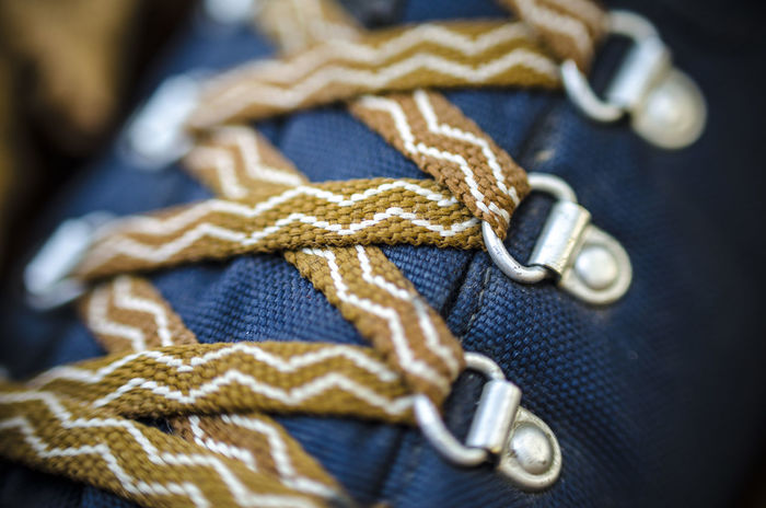 Boots Hiking Shoe Blue Boot Close-up Day Hikingboots No People Pattern Selectivefocus Shoelace Shoelaces Textured