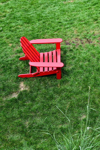 High angle view of bench in park
