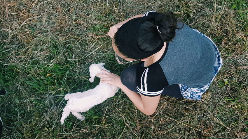 Baby Goat New Born New Born Animal Goat Vscocam Nature Animal Love Mobile Photography Mobilephotography Women High Angle View Directly Above Full Length Grass Casual Clothing