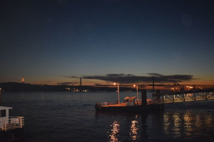 Tagus River Vascodagamabridge Lisboa Lisbon Bridge Scenics The City Light Suspension Bridge Architecture Water Transportation Sky Waterfront Sea No People Beauty In Nature Illuminated Tranquil Scene Nature Night Built Structure Tranquility Nautical Vessel Outdoors Architecture