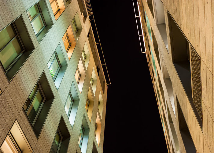 looking up! Darkness Façade Colorful Converging Looking Up Night Office Building Windows