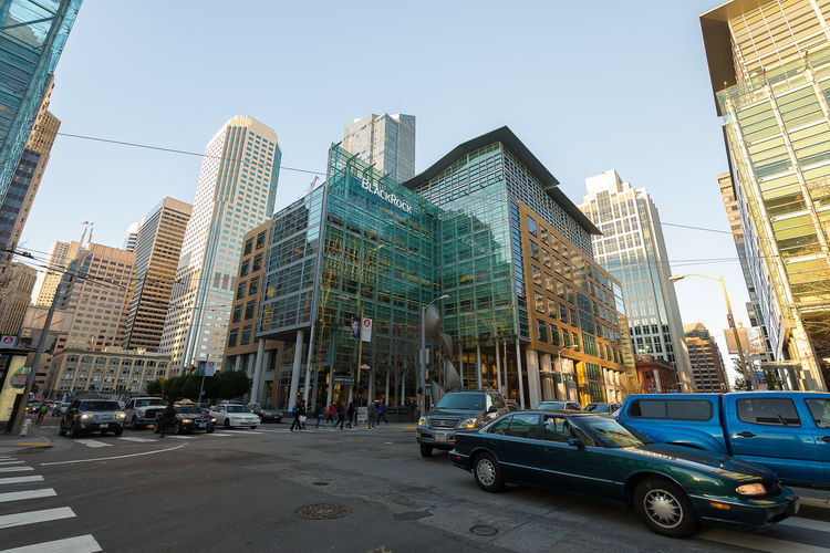 Downtown of San Francisco San Francisco Architecture Building Building Exterior Built Structure Car City City Street Day Donwtown Financial District  Land Vehicle Mode Of Transportation Modern Motor Vehicle Office Office Building Exterior Outdoors Road Sky Skyscraper Street Tall - High Tower Transportation