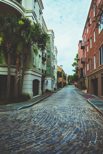 A calm summer day in one of the most beautiful cities in America... Architecture Built Structure Charleston SC City City Cobblestone Day No People Outdoors Sky Street EyeEmNewHere