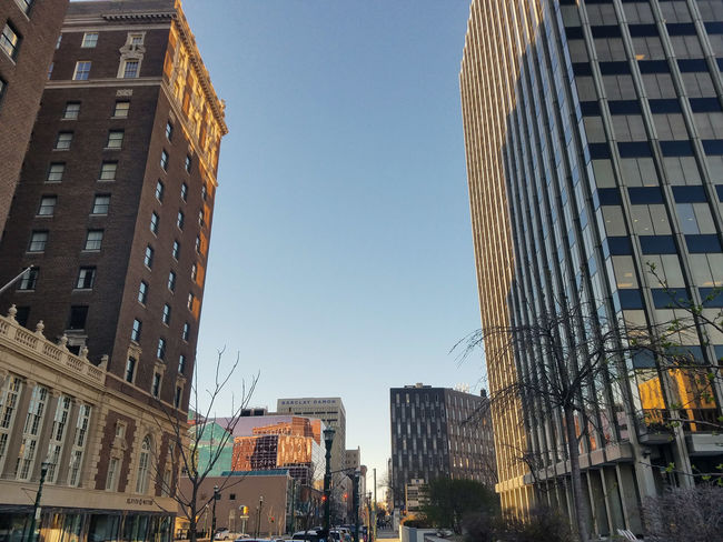 Downtown Syracuse Architecture Building Exterior Built Structure Check This Out City City Life Cityscape Day Low Angle View Modern No People Outdoors Samsung Galaxy S7 Sky Skyscraper Travel Destinations Resist The Architect - 2017 EyeEm Awards
