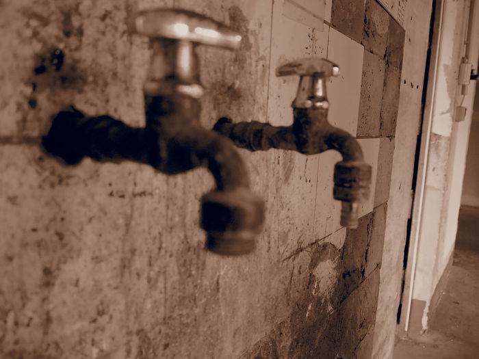 Abandoned First Eyeem Photo Indoors  Industrial No People Old Olympus Rust Sepia Sink Tap Water