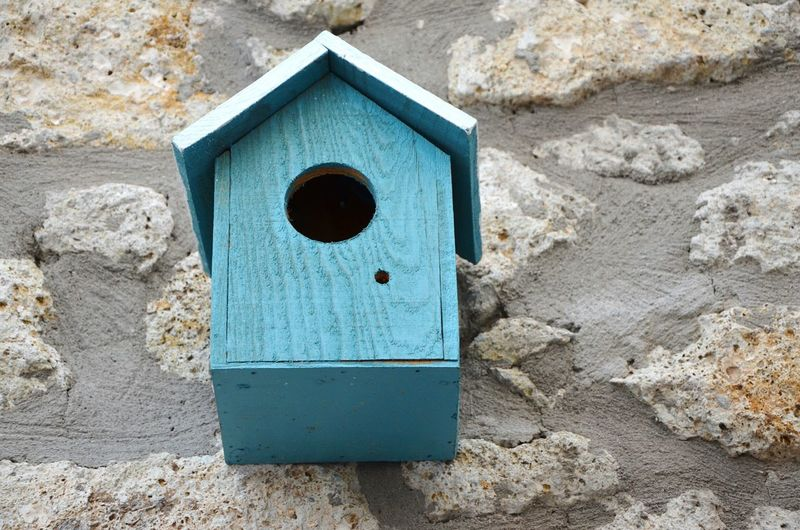Birdhouse Outdoors Close-up Handmade Wood - Material Wood Blue Built Structure Hanging Wall Home Birds House