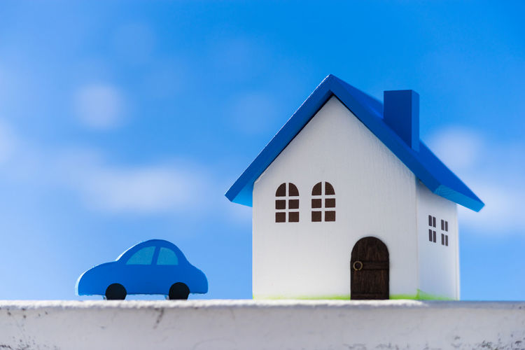 Low angle view of house against blue sky