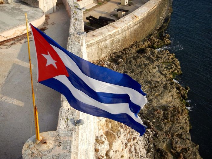 High angle view of cuban flag by river
