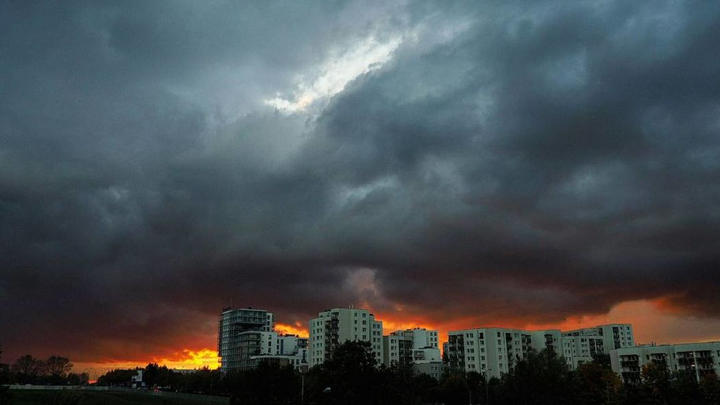 Dramatic Sky Extreme Weather Storm Urban Skyline Outdoors City Warsaw Poland