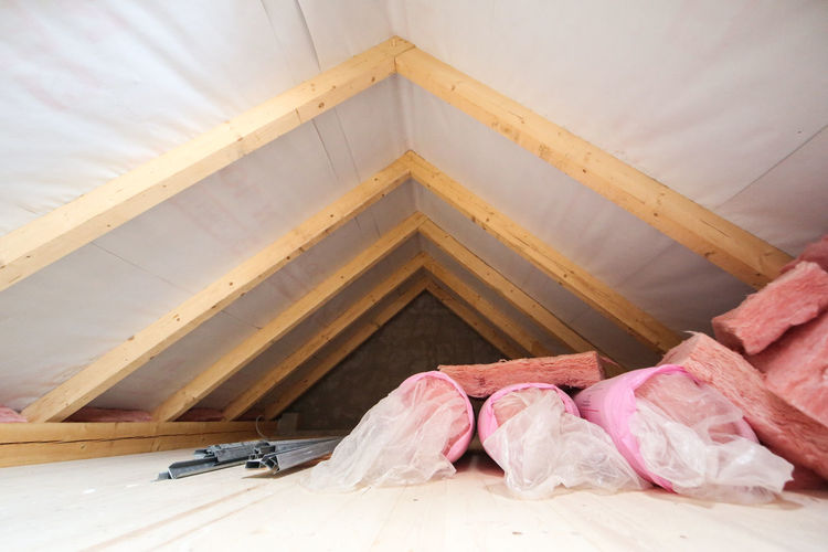 Construction DIY Insulating Material InsulationWork Roof Thermal Insulation Architecture Attic Attic Room Building Building A House Built Structure Flooring Home Interior House Insulating Insulation Loft No People Passive House Reconstruction Remodeling Textile Wood Wood - Material