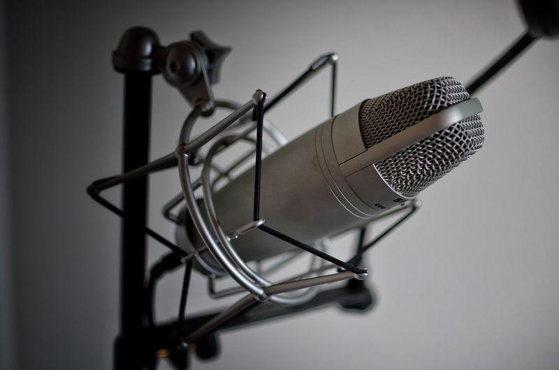 Close up of microphone in studio