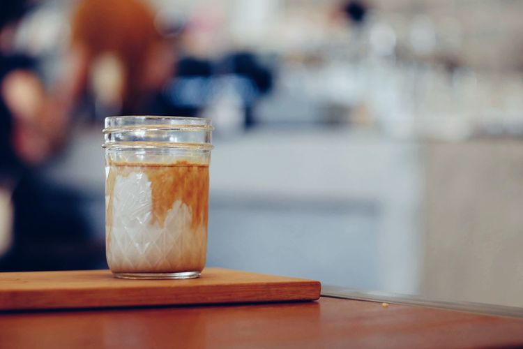Glass of dirty coffee on wood table Dirty Coffee Cold Coffee Cup Morning Coffee Cafe Relax Business Break Breakfast Aroma Caffeine Beverage Barista Drink Refreshment Fresh Shop Glass Cold Drink Still Life Cappuccino Sugar Latte Sweet