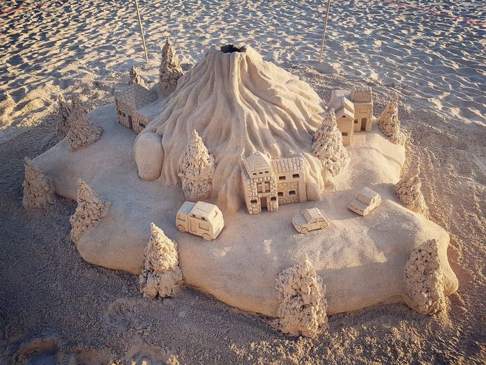 Sandcastles On The Beach. Sandcastles Beach Sand Full Frame Textured  Pattern High Angle View Backgrounds Sunlight Close-up