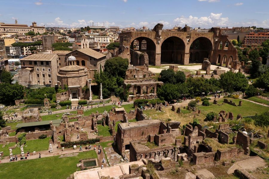 An aerial view of the ruined remains of the ancient roman forum (foro romano) in the centre of the city of Rome, Italy Cityscape Roman Ruins Tourist Attraction  Travel Photography Aerial View Ancient Ancient Civilization Ancient Rome Archaeology Architecture Building Building Exterior Built Structure City Foro Romano History Nature No People Old Outdoors The Past Tourism Tourist Destination Travel Travel Destination
