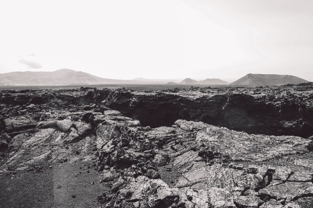 Canary Islands Lanzarote Rock Formation SPAIN Travel Volcanoes B&w Day Geological Formation Island Landscape Volcanic  Volcano