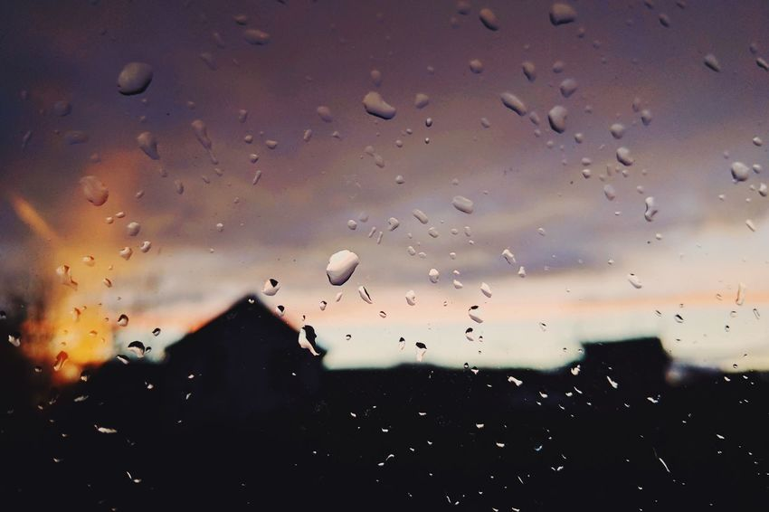 Window Window View Window Drops Rainy Days Rain Drops Blurred Background Evening Sky No People Sunset Sky Outdoors Close-up Silhouette Nature