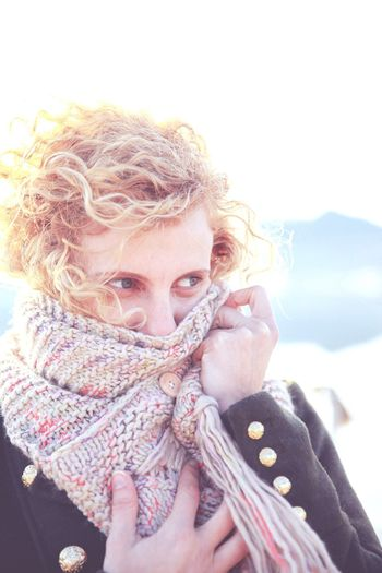 It's Cold Outside Cold Days Cold Girl Portrait Comforter Curly Hair Portait Winter Sunny Backlight Connected By Travel