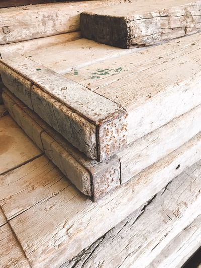 Diy Project DIY Recycled Wood Recycled Materials Old Wood High Angle View Wood - Material No People Day Architecture Sunlight Outdoors Wood Built Structure Textured  Design Pattern Sand Shadow