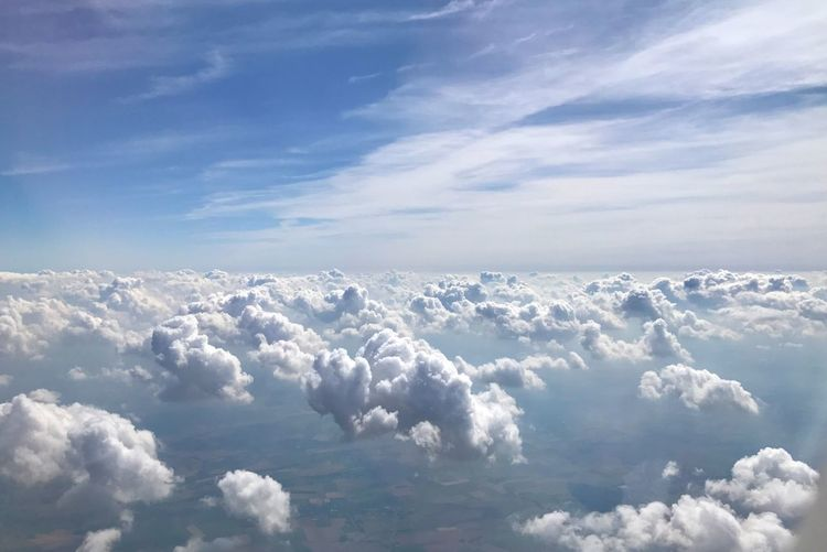 IPhoneography Backgrounds Landscape Cloud - Sky Sky Scenics - Nature Beauty In Nature Tranquility Tranquil Scene Day No People Nature White Color Idyllic Aerial View Outdoors Fluffy Cloudscape Sunlight Softness Above Blue