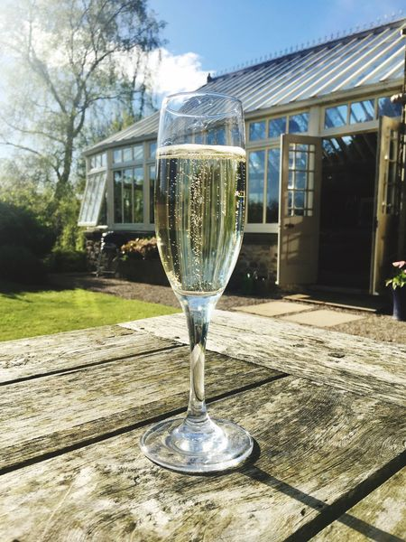 Bubbles Glass - Material Food And Drink Alcohol Day Drink Table No People Champagne Champagne Flute Outdoors Close-up Drinks Outdoors Al Fresco Sunny Day Garden Outdoor Photography Drinking Glass Freshness Wineglass Wine Architecture Conservatory Sunshine Prosecco