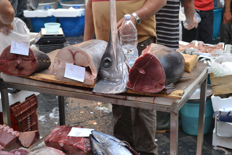 Catania, Sicily Fish Market Italy Sword Fish Tunafish Busy Day Fish Outdoors People