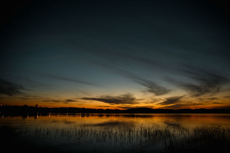 Water Sky Scenics - Nature Beauty In Nature Tranquility Cloud - Sky Tranquil Scene Sunset Reflection Lake Silhouette Nature No People Idyllic Waterfront Non-urban Scene Outdoors Orange Color Dusk EyeEm Best Shots EyeEm Nature Lover EyeEm Selects