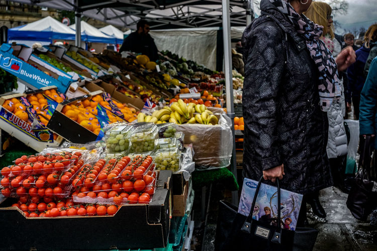 Market day in Skipton on a wet and grey day. Skipton Abundance Arrangement Choice Day Food And Drink For Sale Freshness Fruitporn Healthy Eating Large Group Of Objects Market Market Stall Outdoors Price Tag Retail  Variation Vegetable