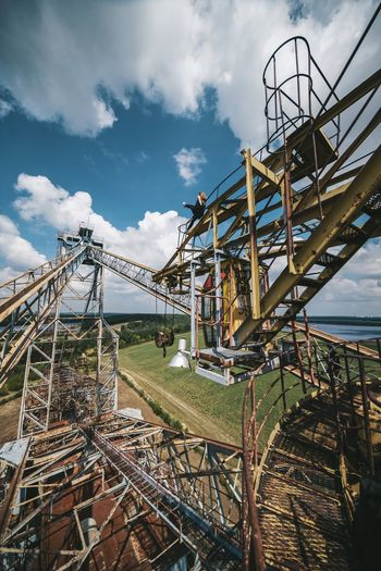 Riding monsters The Great Outdoors - 2017 EyeEm Awards The Traveler - 2018 EyeEm Awards Excavator Bagger Abandoned Wide Angle Sky Architecture Nature Day Amusement Park Metal