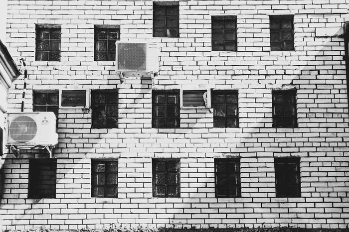 Brick Wall Petrogradskaya District Architecture Backgrounds Building Exterior Built Structure Communication Day Full Frame No People Outdoors Window