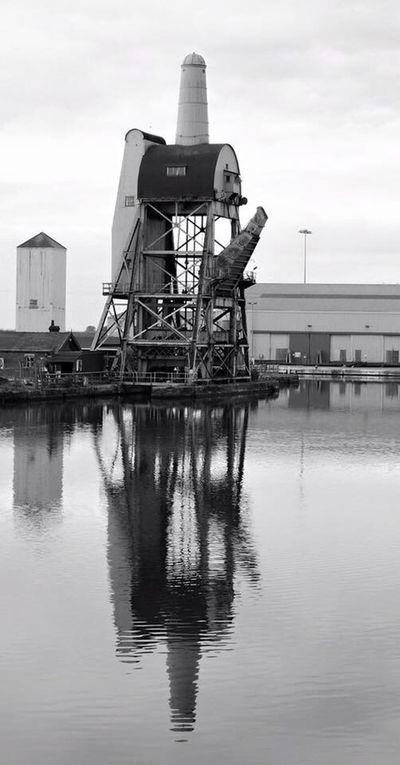 Industrial days past Built Structure Water Architecture Building Exterior No People Goole Goole Docks Industrial Building  Coal Hoist Blackandwhite Photography