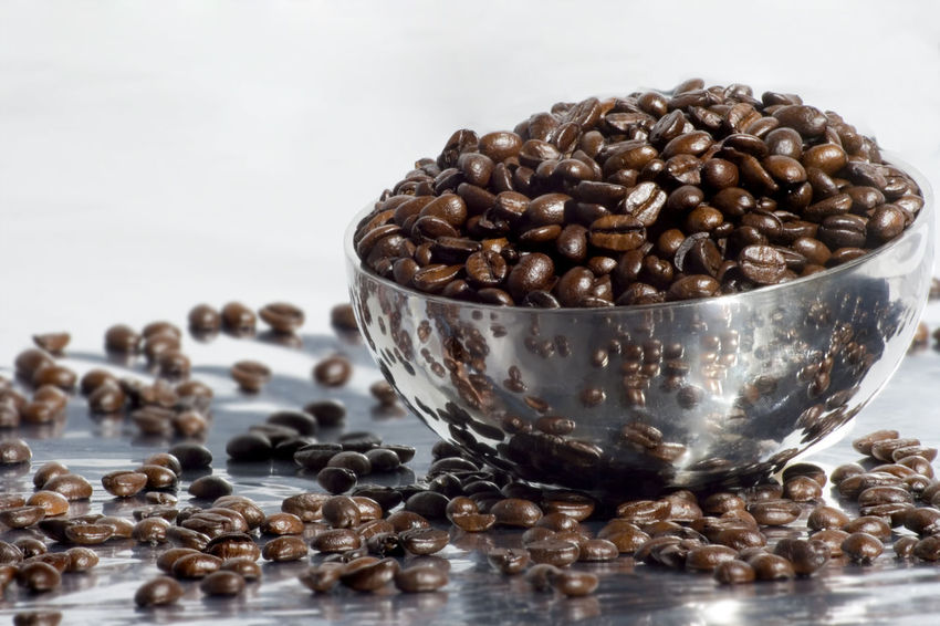 Bean Bowl Cafe Coffee Beans Coffee Shop Kitchen Metallic Bowl Reflection