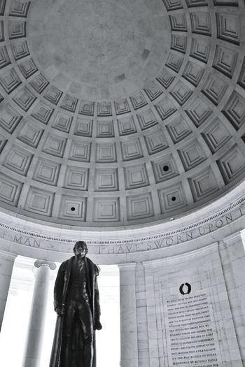 """For here we are not afraid to follow truth wherever it may lead, nor to tolerate any error so long as reason is left free to combat it."" Architecture Low Angle View Indoors  Built Structure Statue Washington, D.C. International Landmark Famous Place Architecture Dome Coloradophotographer Ladyphotographerofthemonth Photography Photooftheday Black And White Photography Black & White Black And White Black&white Blackandwhite Photography History Travel Blackandwhite Travel Destinations"