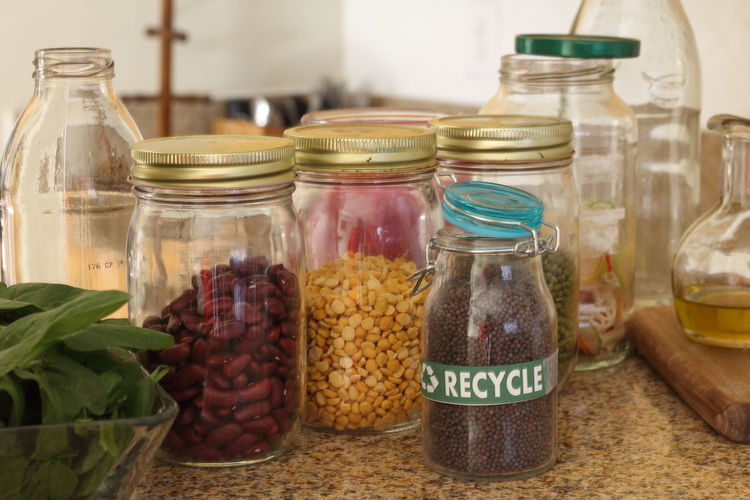 Close-up of food in jars on table