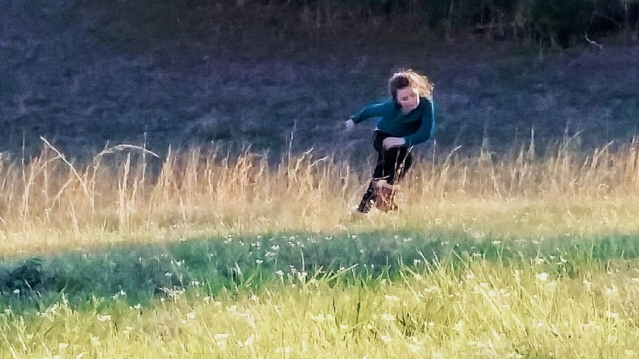 Real People One Person Field Leisure Activity Water Outdoors Nature Full Length Day Grass Growth Beauty In Nature Tree People Adult Running Action Motion Showing Motion Girl Playing Outside Playing Outdoors Childhood Adventure Running In The Grass
