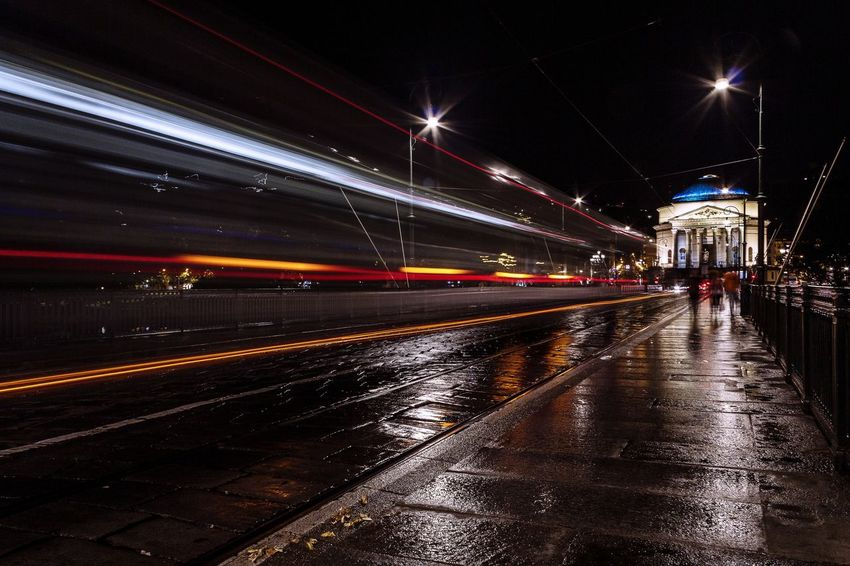 Night Illuminated Long Exposure Speed Light Trail Motion Transportation Wet Outdoors City No People Sky Turin Landscape Gran Madre Torino Citylights Be. Ready. Mobility In Mega Cities The Traveler - 2018 EyeEm Awards