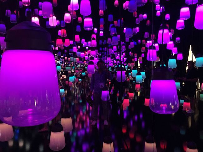 Forest of resonating lamps Illuminated Arts Culture And Entertainment Indoors  Performance Event Lamps Maison & Objet