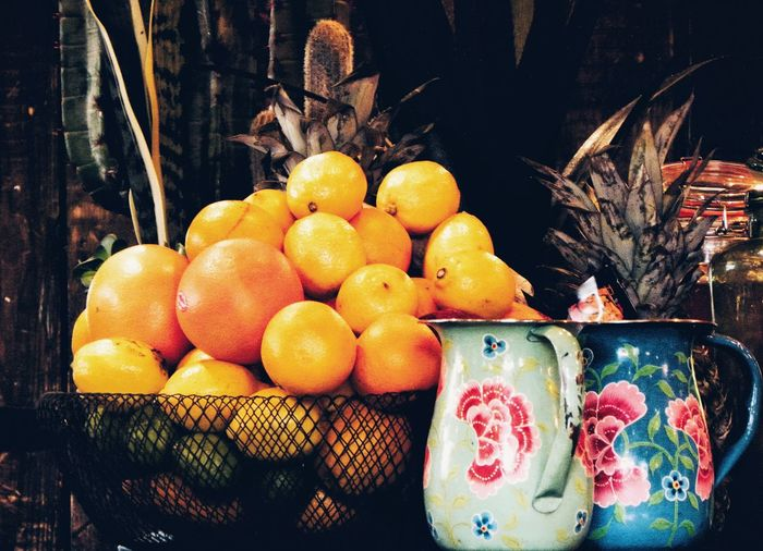 Fruit Food And Drink Healthy Eating Freshness Food Citrus Fruit No People Colour Orange Color Orange Fruits Jug Indoors  TropicalFruits Vintage Retro Styled Paint The Town Yellow