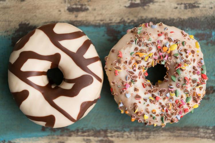 Donuts Donuts Sugar Chokolate Food No People Still Life Sweet Two Donuts Wood - Material
