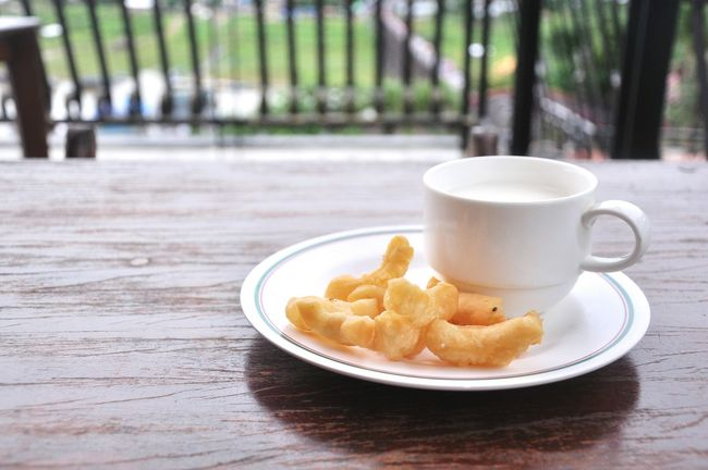 Table Food And Drink Mornings Relax Close-up Food Outdoors Day Soybeanmilk Patongko