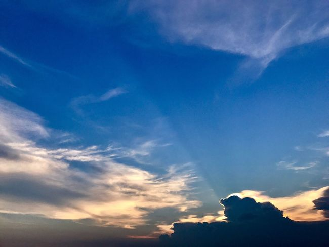 Sky Cloud - Sky Beauty In Nature Low Angle View Nature Blue Scenics Majestic Tranquility Sky Only Silhouette Tranquil Scene No People Sunset Outdoors Day Vapor Trail EyeEmNewHere The Week On EyeEm Beauty In Nature Nature Landscape